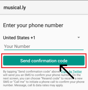 Musical.ly Login with number